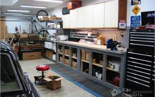 Обустройство металлического гаража внутри